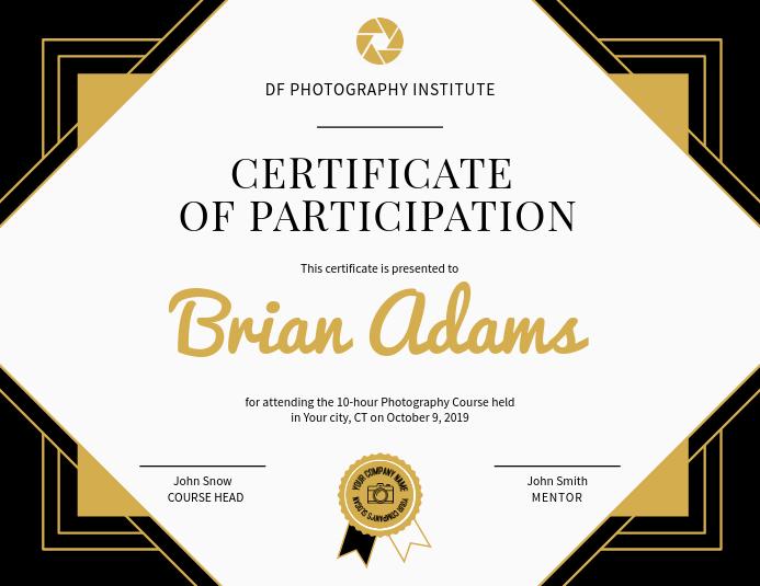 Photography Participation Certificate Landscape