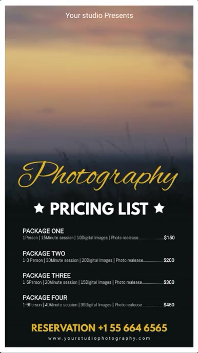Photography Price List Board