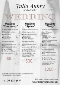 Photography Price List Wedding A4 Size template