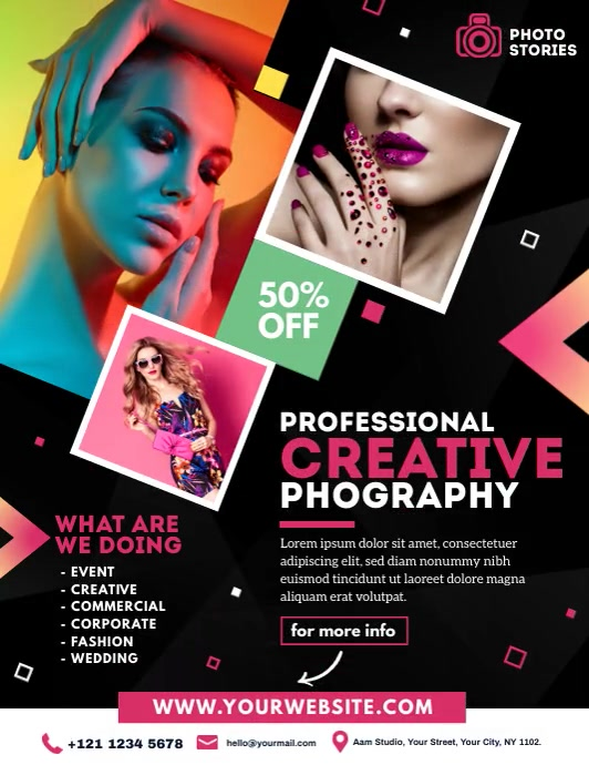 Photography Video Ad Folder (US Letter) template