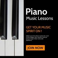 piano & music lessons orange white and black Сообщение Instagram template