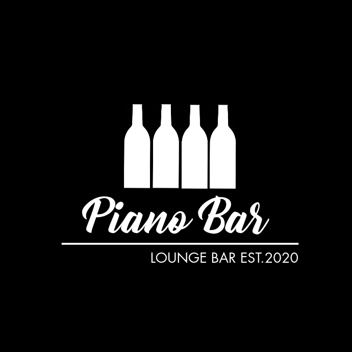 piano bar black and white wine bottles design Logo template
