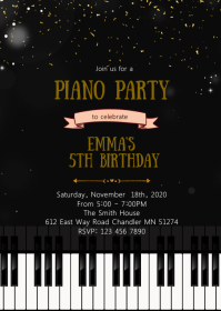 Piano birthday invitation A6 template