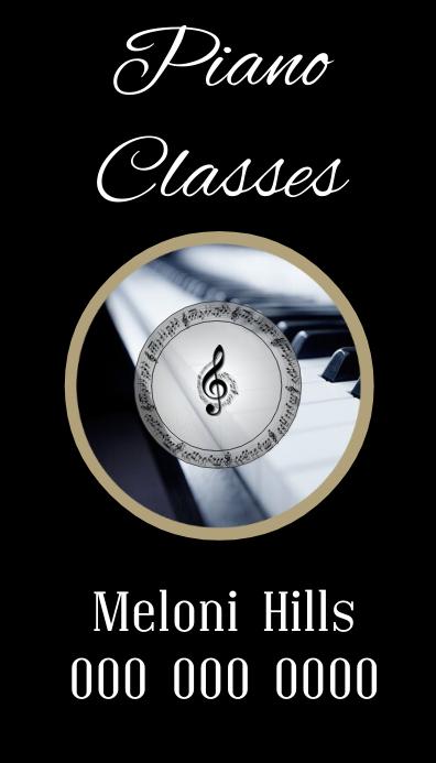 piano classes card template