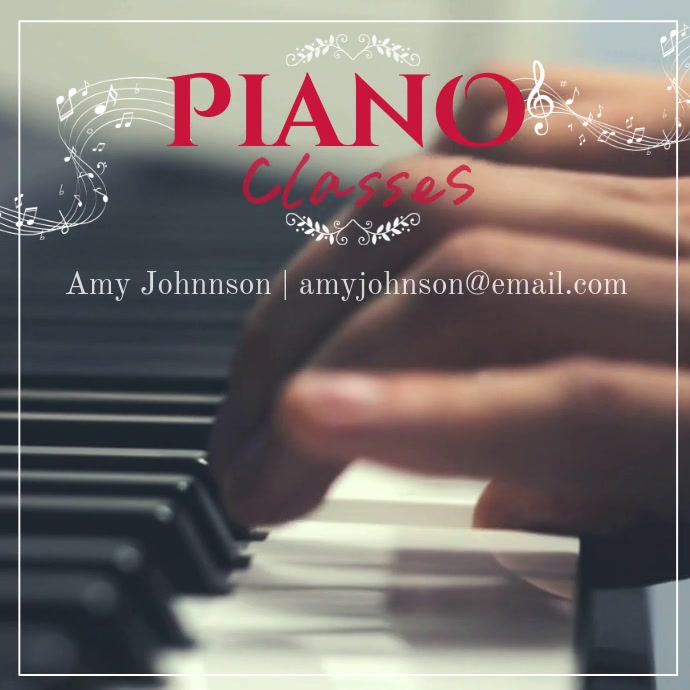 Piano Classes Video Instagram template Wpis na Instagrama