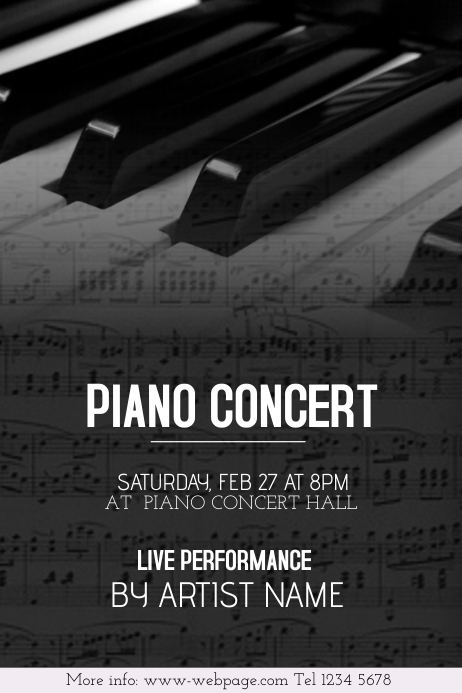 piano concert black and white flyer template