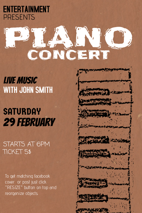Piano Jazz Concert Flyer Template  Postermywall
