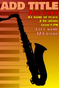 piano keys and orange yellow saxophone silhouette - music event show