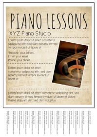Piano Lessons Flyer Advert Poster A4 template