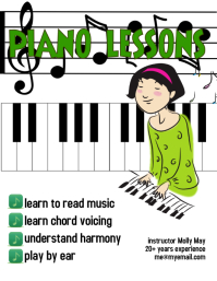 piano lessons for kids flyer template