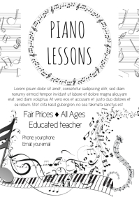 Piano Lessons poster advert A4 template