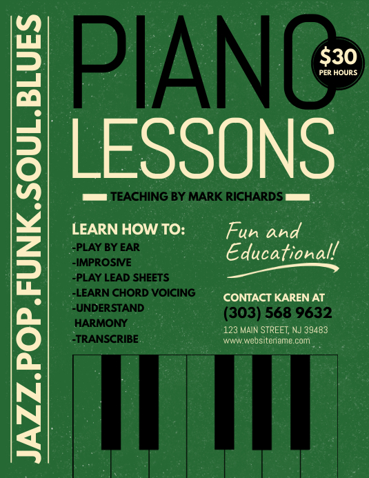 Piano Lessons Flyer Template  Postermywall