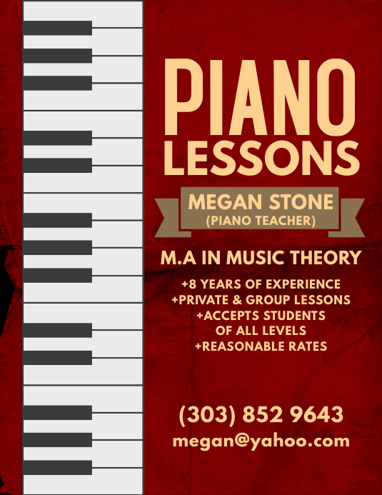 Piano Lessons Flyer Løbeseddel (US Letter) template