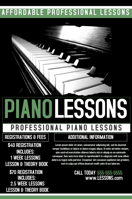 piano lessons template postermywall. Black Bedroom Furniture Sets. Home Design Ideas