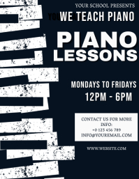 PIANO LESSONS TEACHER CLASS Flyer Template Folheto (US Letter)