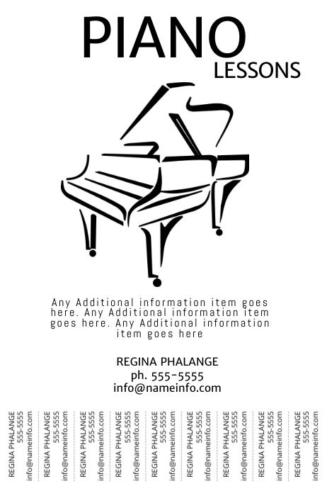 Piano Lessons tear off tabs flyer template poster printable