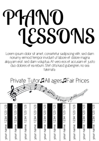 Piano Lessons tear off tap template