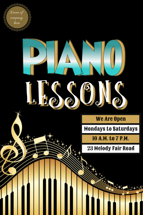 Modele Piano Lessons Template Postermywall