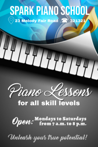 piano lessons template Cartaz