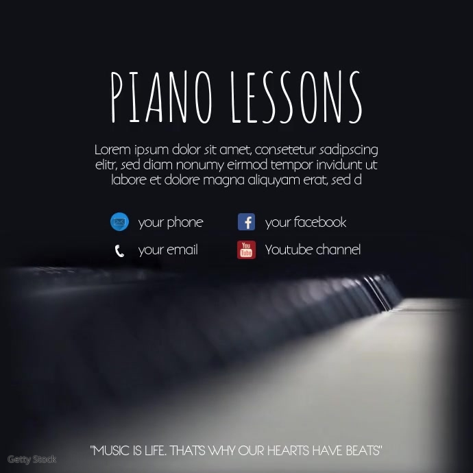 piano Lessons Template instagram post