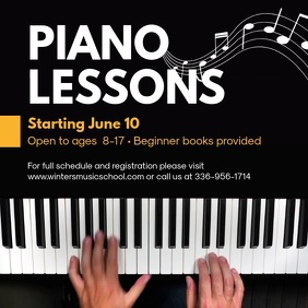 Piano Lessons Tutor Instagram Ad Template