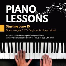 Piano Lessons Tutor Instagram Ad Template Quadrado (1:1)