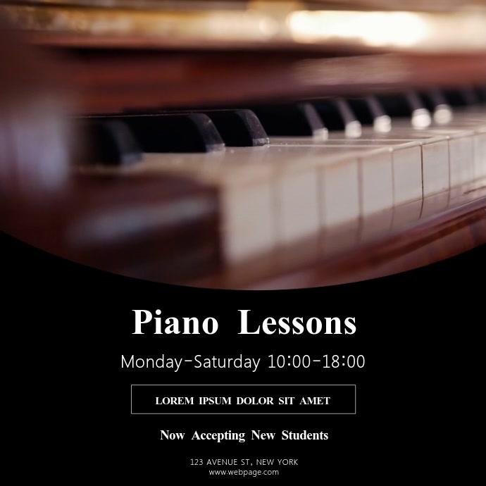 Piano Lessons Video Design Template instagram