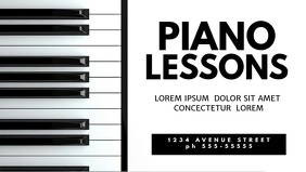 Piano lessons video promotion template for facebook cover