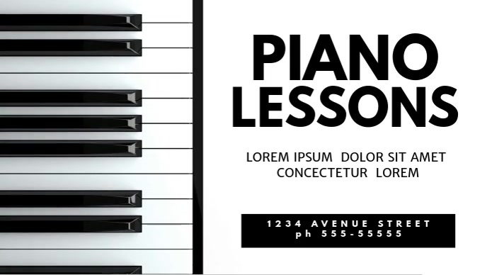 Piano lessons video promotion template for facebook cover | PosterMyWall