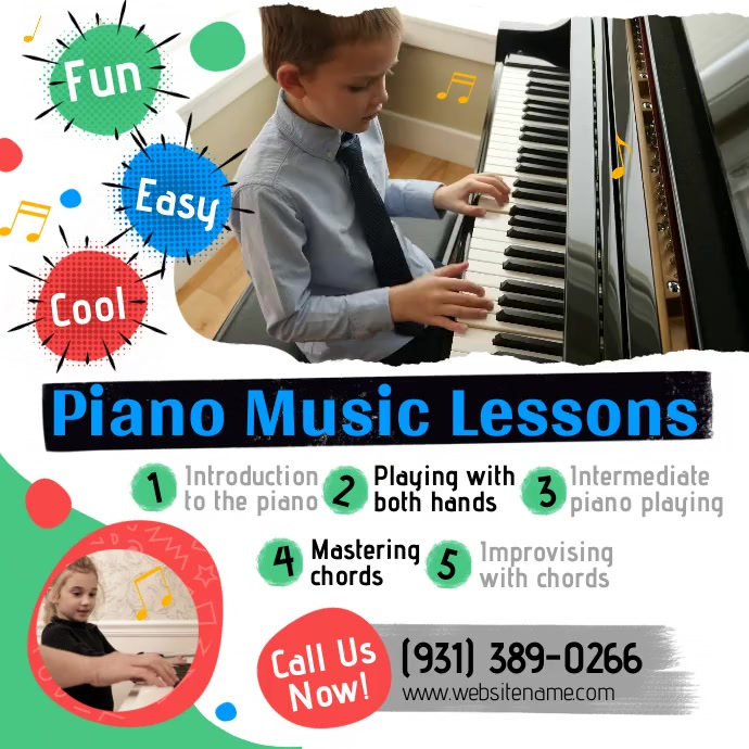 Piano Music Lessons Instagram Post template