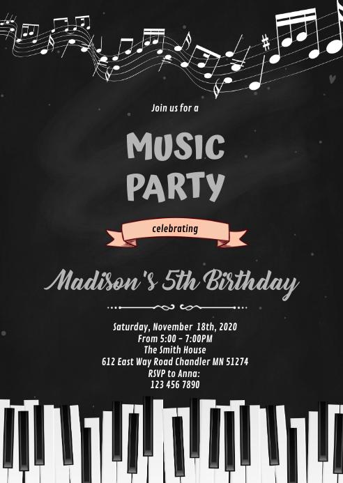 Piano music Party Invitation A6 template