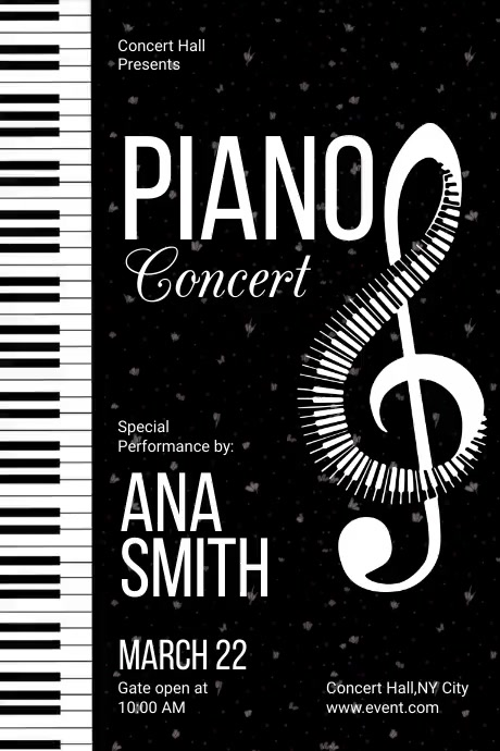 Piano Night Concert Poster Póster template