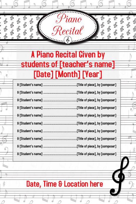 piano recital music concert flyer poster invitation customize template