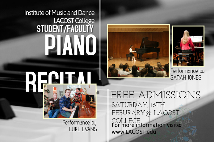 piano recital poster template postermywall