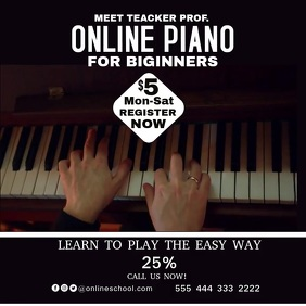 Piano school education poster 33 template
