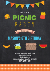 Picnic birthday party invitation