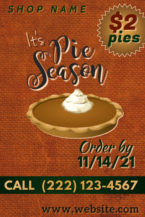 Pie Season Poster Plakat template