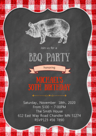 Pig roast bbq party invitation