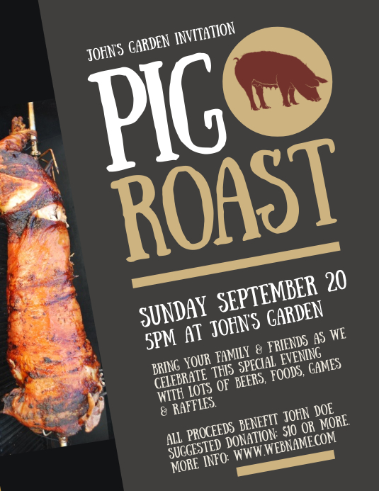 pig roast flyer template postermywall