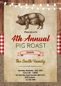 Pig roast party invitation A6 template