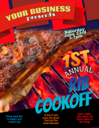 Pig Roast Ribfest Rib Cookoff flyer template ใบปลิว (US Letter)