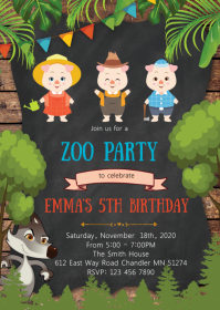 Pigs and wolf birthday party invitation