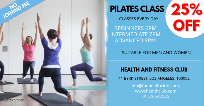 pilates class facebook ad template postermywall
