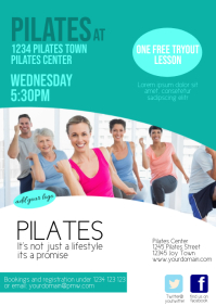 Pilates fitnes Flyer subscribtion Template A4