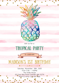 Pineapple birthday party invitation A6 template