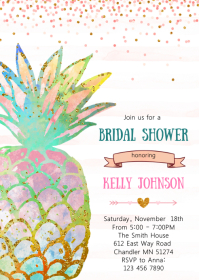 Pineapple bridal shower invitation A6 template