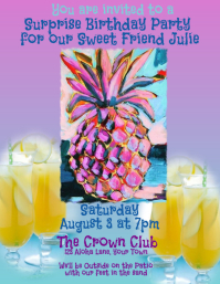 Pineapple Cocktails Birthday Invitation