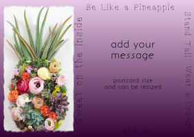 Pineapple Postcard Invitation with real plants