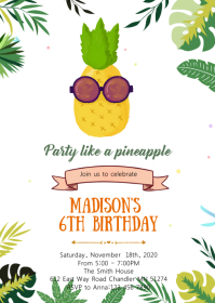 Pineapple tropical birthday invitation