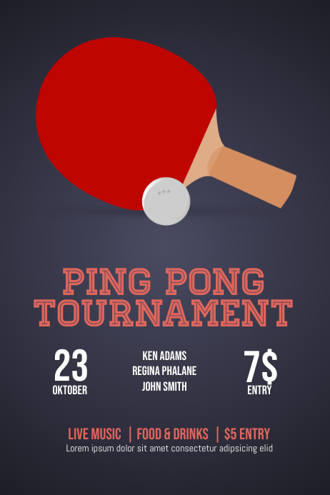 Ping pong table tennis flyer template
